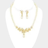 Pearl Accented Rhinestone Leaf Cluster Necklace