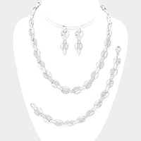 3PCS Stone Detail Metal Oval Cluster Necklace Jewelry Set