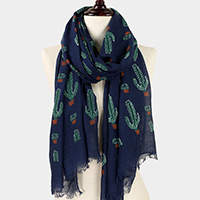 Cactus Pattern Print Oblong Scarf