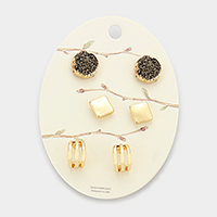 3Pairs Mixed Druzy Metal Square Cut Out Cage Stud Earrings