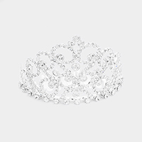 Rhinestone Pave Crystal Round Detail Princess Mini Tiara