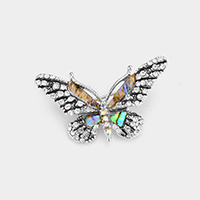 Abalone Crystal Rhinestone Pave Butterfly Pin Brooch