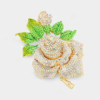 Pave Crystal Rhinestone Rose Pin Brooch