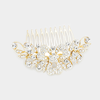 Stone Flower Centered Leaf Cluster Hair Comb