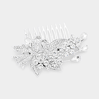 Crystal Rhinestone Pave Bow Crystal Flower Hair Comb