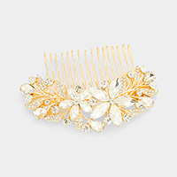 Double Crystal Flower Accented Leaf Cluster Hair Comb