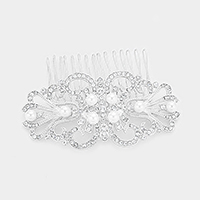 Crystal Rhinestone Pave Pearl Detail Hair Comb