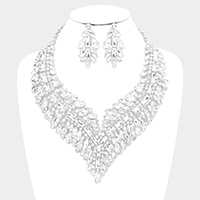 Crystal Rectangle Lined Oval Cluster Vine Evening Necklace