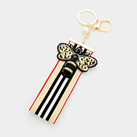 Beaded Honey Bee Patch Stripe Grosgrain Strap Key Chain