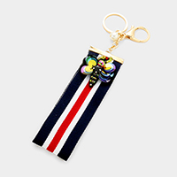 Sequin Honey Bee Patch Stripe Grosgrain Strap Key Chain