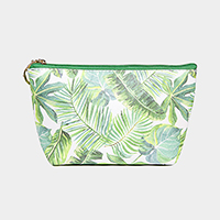 Tropical Leaf Pattern Print Pouch Bag