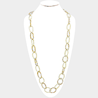 Faceted Beaded Hoop Link Long Necklace