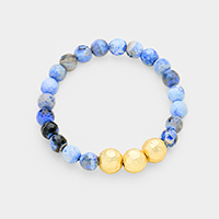 Semi Precious Beaded Triple Metal Ball Accented Stretch Bracelet