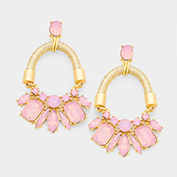 Cord Multi Stone Cluster Statement Earrings