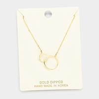Gold Dipped Metal Double Hoop Link Pendant Necklace