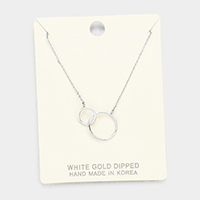 White Gold Dipped Metal Double Hoop Link Pendant Necklace