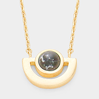 Gold Dipped Cut Out Metal Black Howlite Accented Pendant Necklace