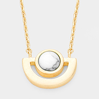 Gold Dipped Cut Out Metal Howlite Accented Pendant Necklace