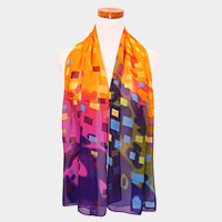 Colorful Rectangle Pattern Print Chiffon Scarf