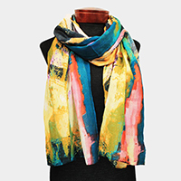 Watercolor Print Oblong Scarf