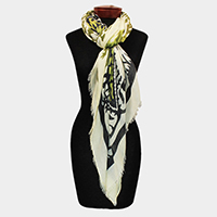Horse Pattern Heart Detail Print Oblong Scarf