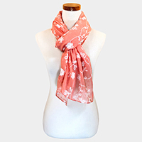 Embroidery Flower Oblong Chiffon Scarf