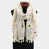 Embroidery Flower Leaf Pattern Tassel Fringe Oblong Scarf