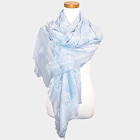 Floral Pattern Print Frayed Edge Oblong Scarf