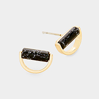 Black Howlite Half Metal Round Stud Earrings