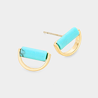 Turquoise Half Metal Round Stud Earrings