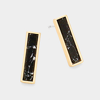 Black Howlite Rectangle Stud Earrings