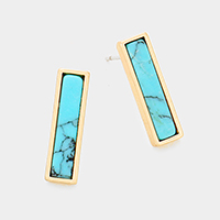 Turquoise Rectangle Stud Earrings