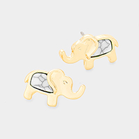 Howlite Elephant Stud Earrings