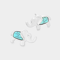 Turquoise Elephant Stud Earrings