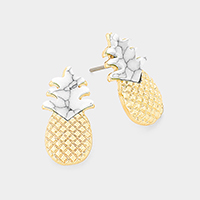 Howlite Pineapple Stud Earrings