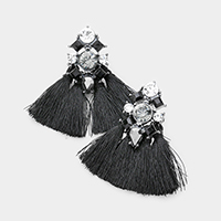 Embellished Stone Tassel Fringe Statement Earrings