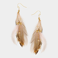 Layered Feather Dangle Earrings