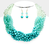 Braided Multi Strand Round Ball Lucite Beaded Necklace