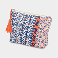 Aztec Pattern Tassel Cosmetic Pouch Bag