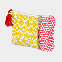 Floral Pattern Tassel Cosmetic Pouch Bag