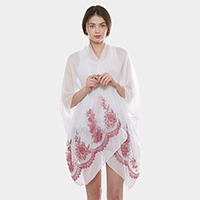 Flower Embroidery Cover up Poncho