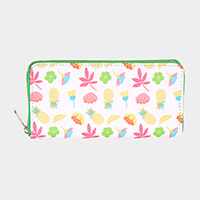 Pineapple Flower Leaf Pattern Print Zipper Wallet