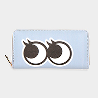 Stripe Eyes Print Zipper Wallet