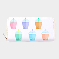 Bubble Tea Cup Pattern Print Zipper Wallet