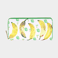 Banana Pattern Print Zipper Wallet