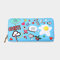 Pop Icon Print Zipper Wallet