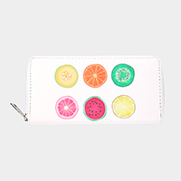 Fruits Print Zipper Wallet