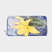 Lily Flower Print Zipper Wallet