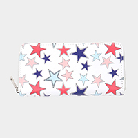 Star Pattern Print Zipper Wallet