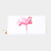 Flamingo Print Zipper Wallet